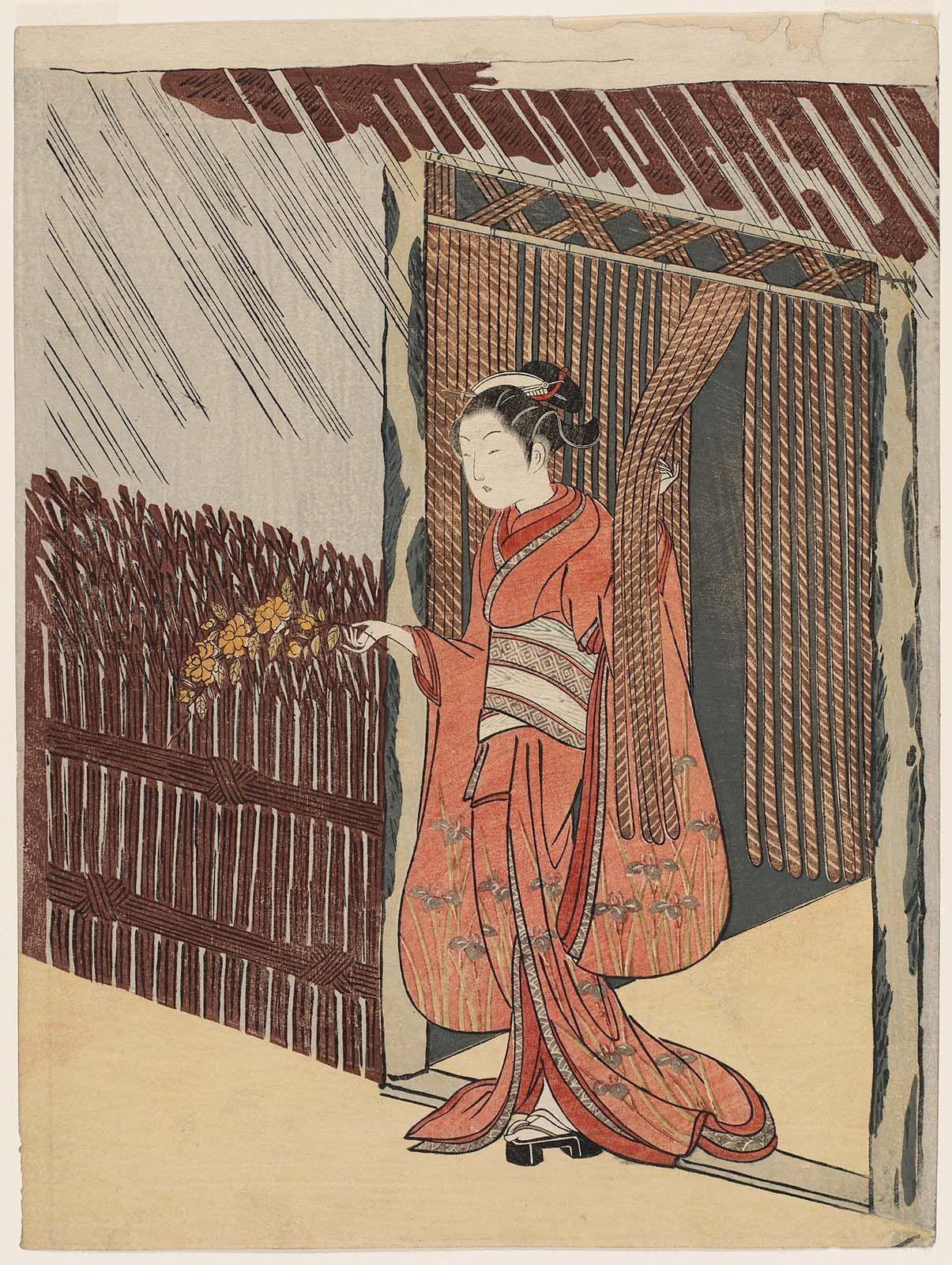 Woman Holding a Branch of Yamabuki (Parody of the Story of Ôta Dôkan)  山吹の枝をさし出す娘 (見立山吹の里) Japanese Edo period about 1766–67 (Meiwa 3–4) Artist Suzuki Harunobu (Japanese, 1725–1770)