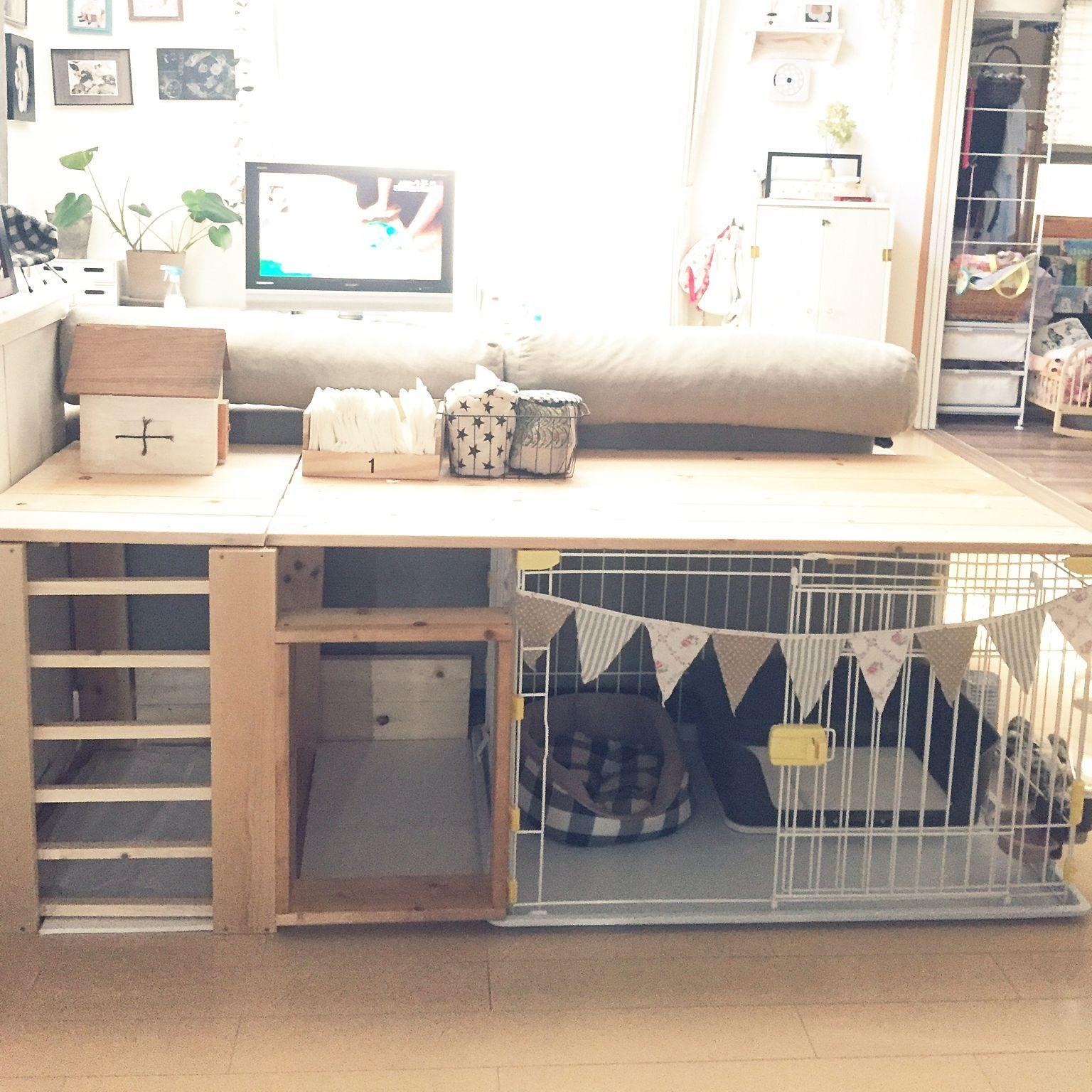 リビング いぬ わんこ 犬小屋 ゲージ などのインテリア実例 2016 08 07 16 36 24 Roomclip ルームクリップ 犬小屋 犬の部屋 ウサギ 部屋