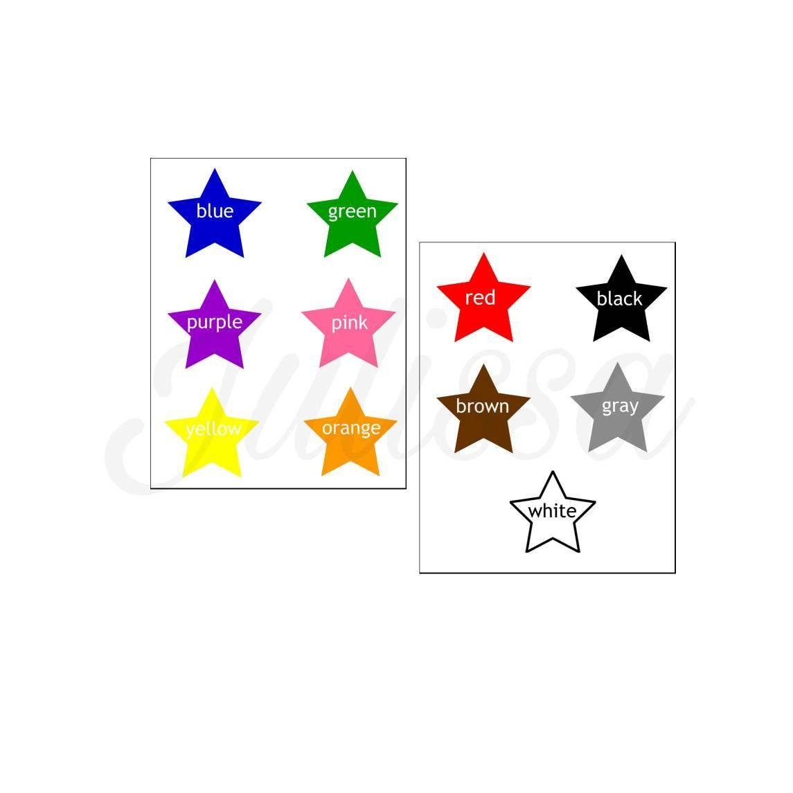 Matching Stars And Colors Kids File Folder Games Preschool