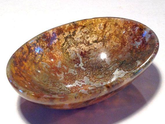 """$89 3"""" BOWL Soul Healing GOLDEN Moss Agate Gemstone"""