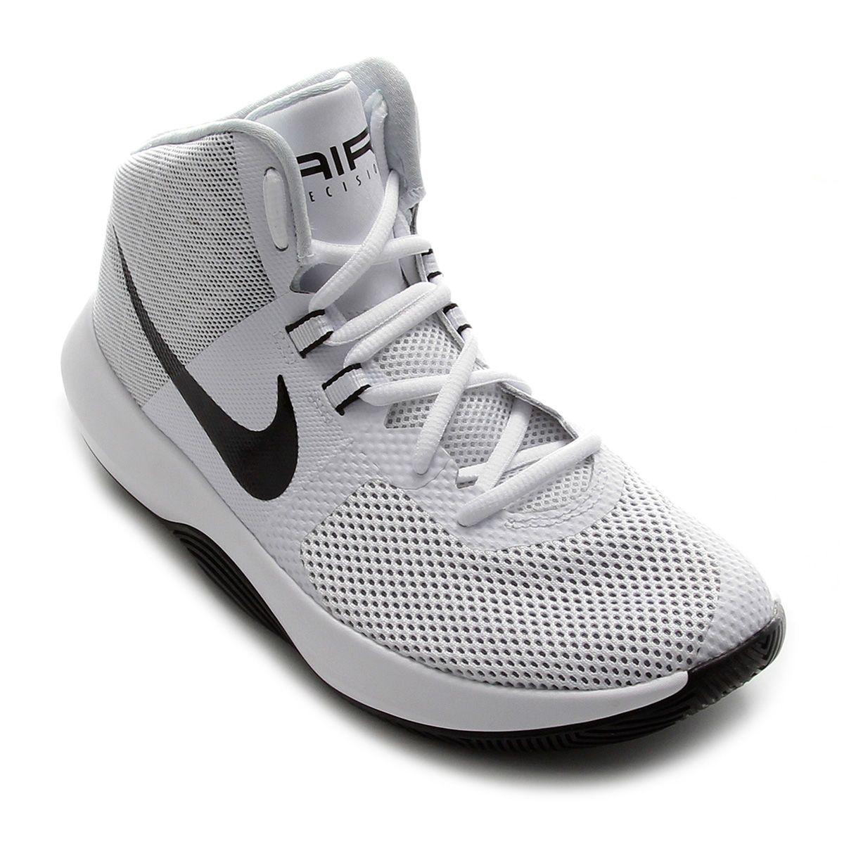 Tênis Cano Alto Nike Air Precision Masculino - Branco  1bd23822ed52b