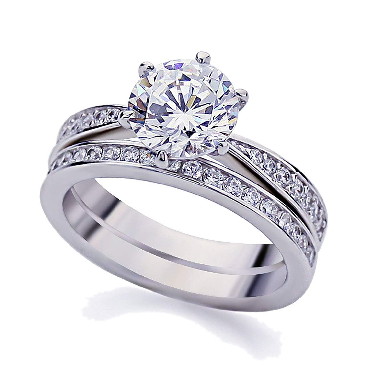 Double Accent Platinum Plated Sterling Silver 2ct Round CZ
