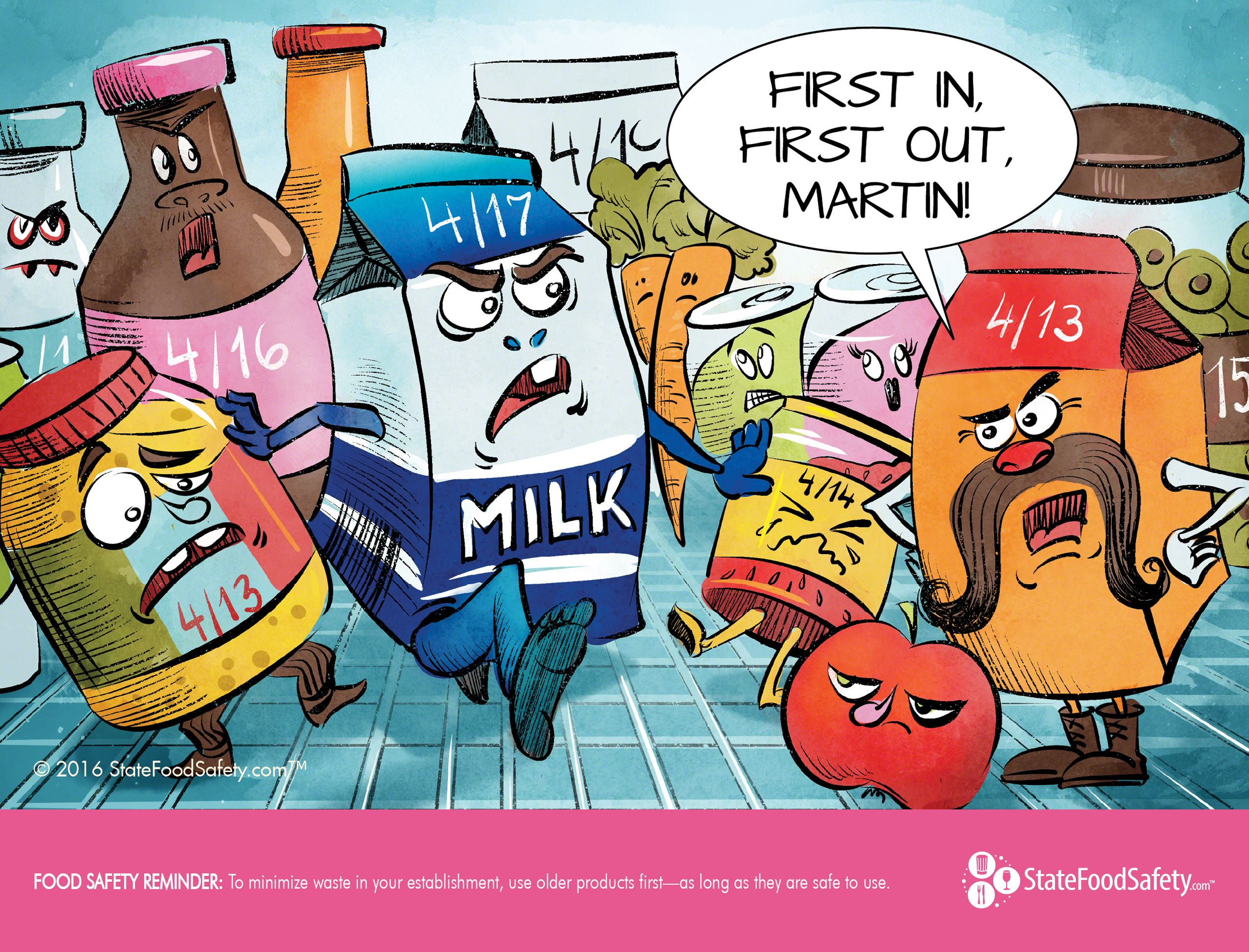 April Cartoon First In First Out Fifo Food Safety Posters