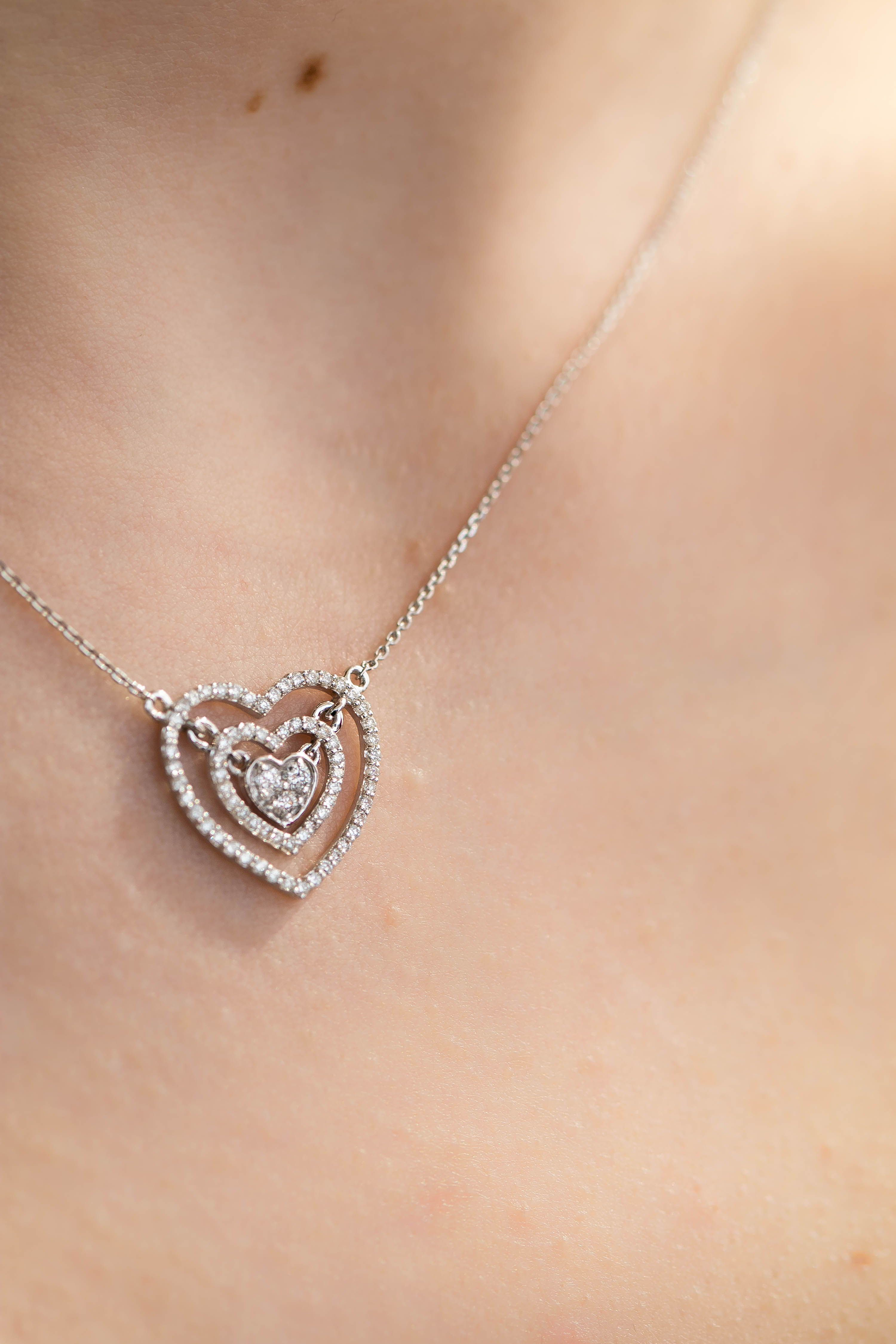 1 3 Ctw Round Diamond Double Halo Cluster Heart Pendant Necklace In 18k White Gold Mdr190019 Heart Pendant Diamond Heart Pendant Gold 18k White Gold Chain