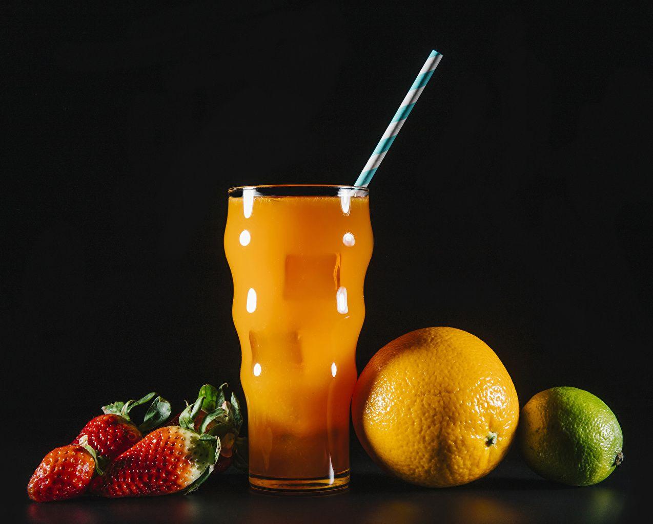 Обои сок, стакан, клубника. Еда foto 11