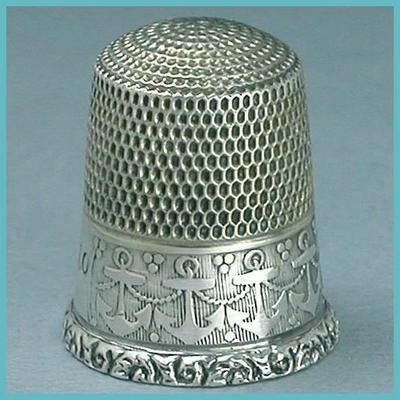 Vintage Sterling Silver Anchors Thimble; Simons Brothers; Circa 1920's