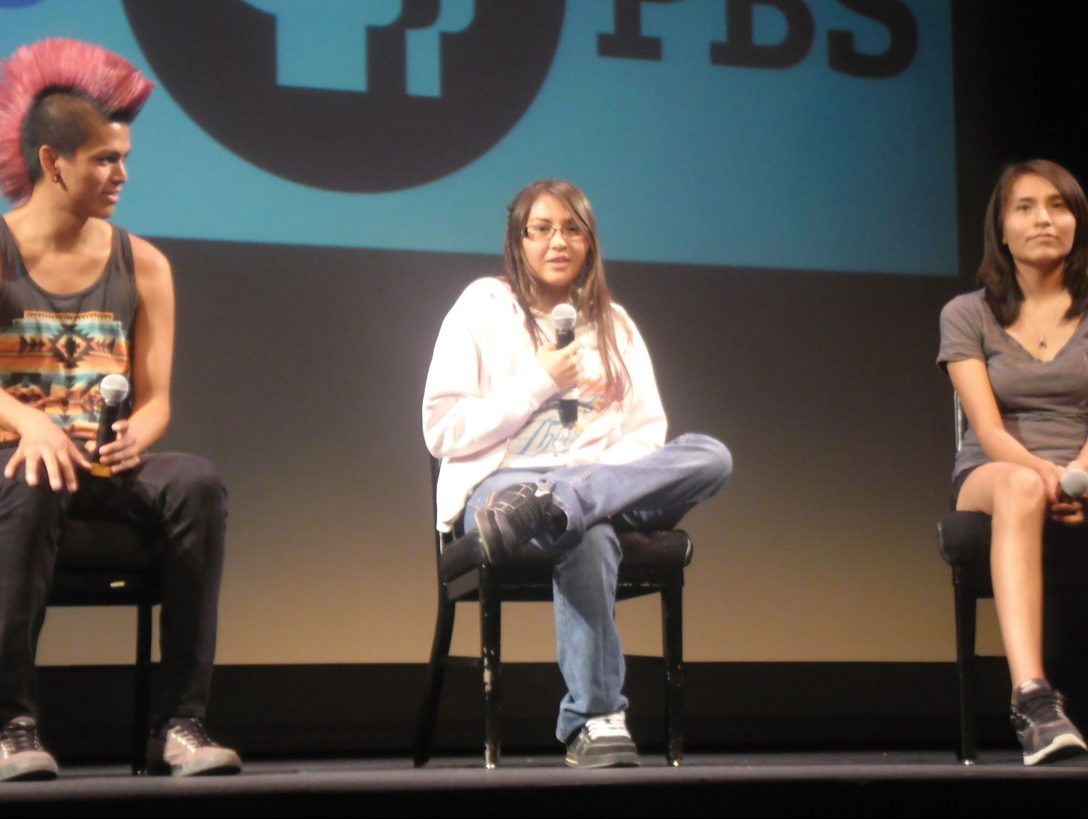 Thomas Martinez, Gabby Nakai, and Tamara Hardy answer questions from the audience after the film's premiere.