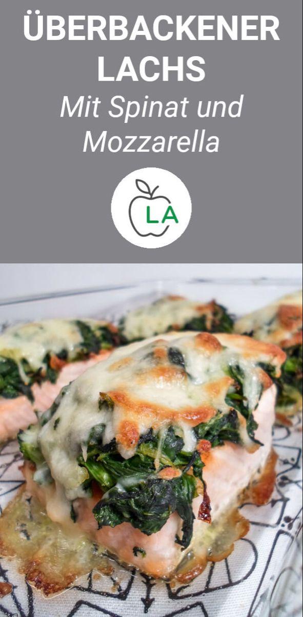 Überbackener Lachs mit Spinat und Mozzarella #recipesforshrimp