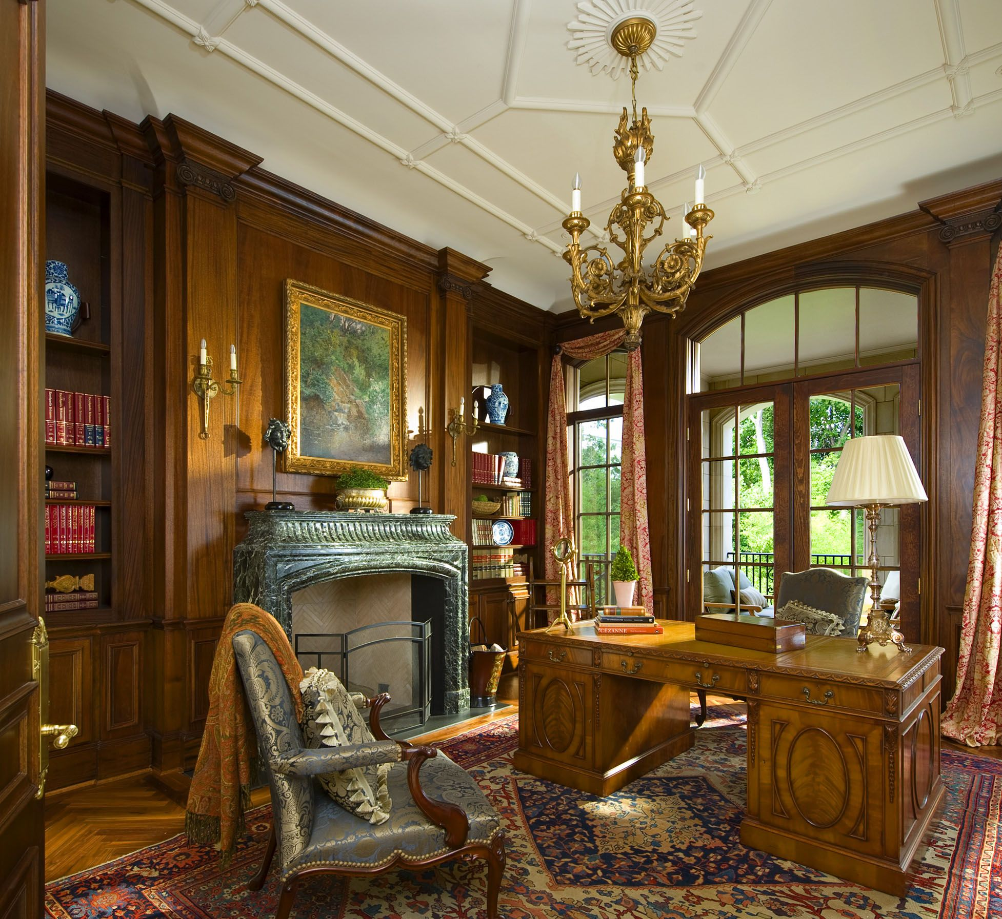 Office with wood paneling detail in a french classical for Classic house french kiss