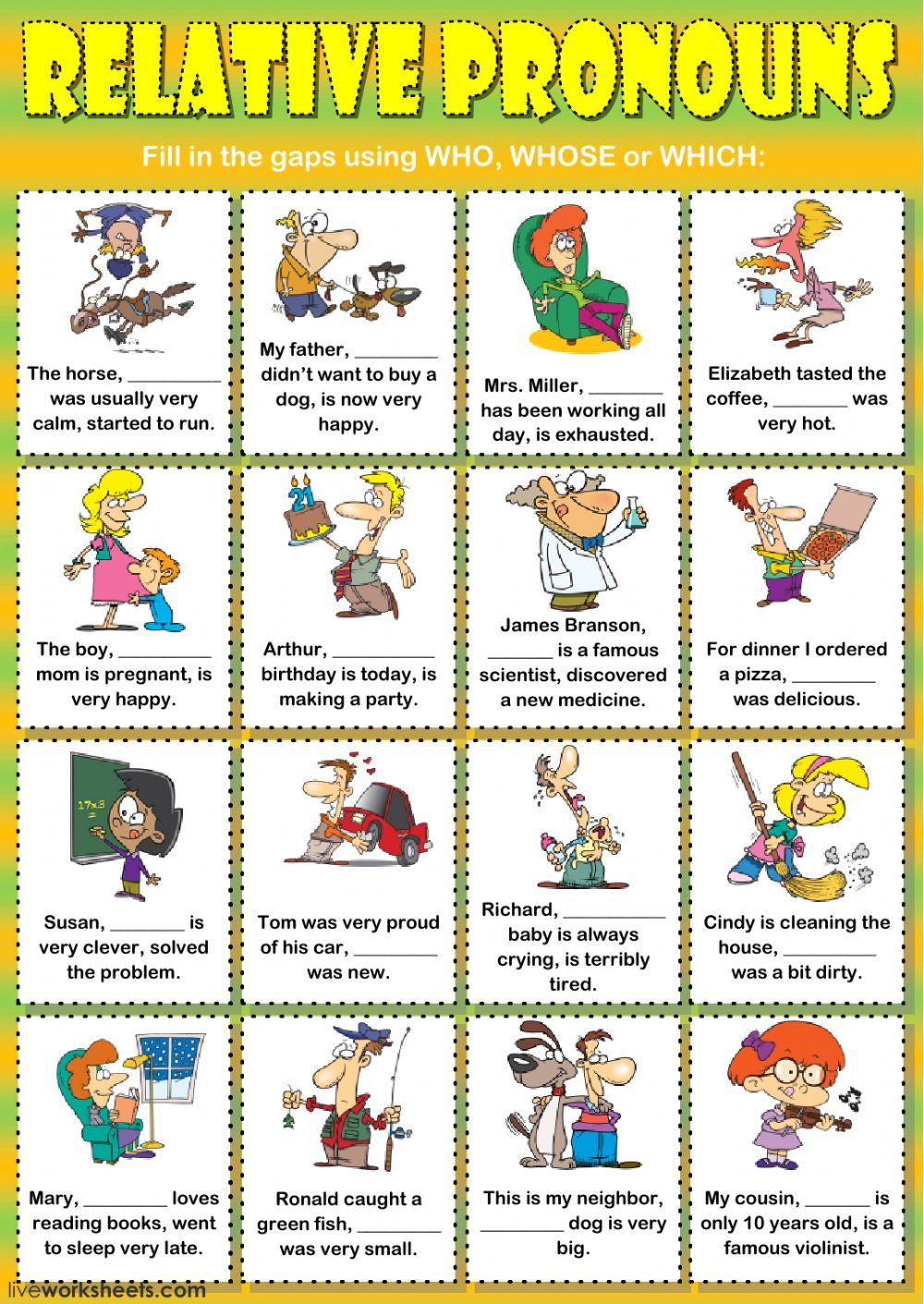 Relative pronouns interactive and downloadable worksheet