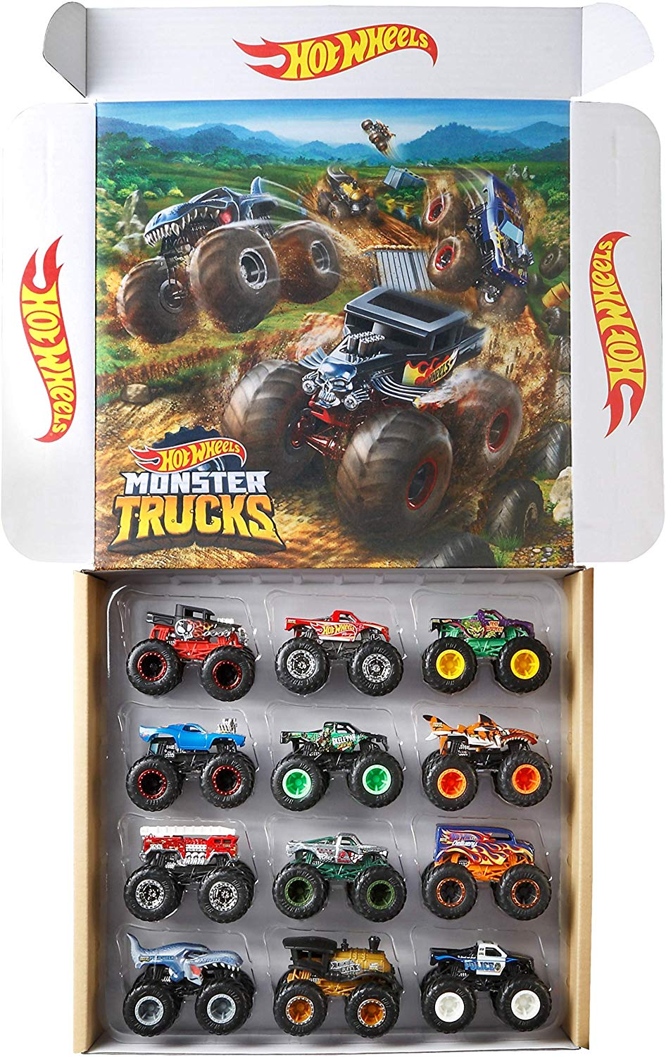 Amazon Com Hot Wheels Monster Trucks Ultimate Chaos 12 Pack 1 64 Vehicles Amazon Exclusive Toys Games Monster Trucks Monster Jam Toys Hot Wheels