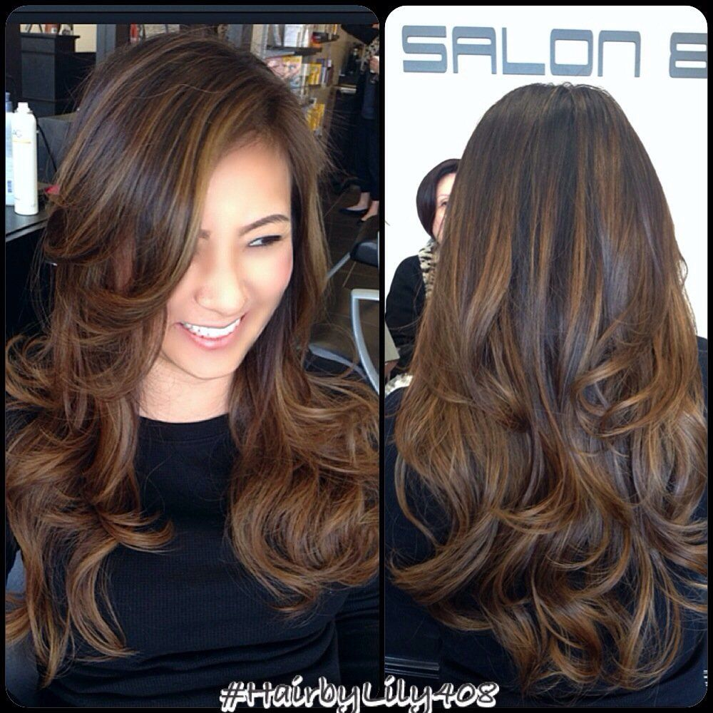 Its time to refresh with some highlights Black hair with brown and caramel highlights. Description