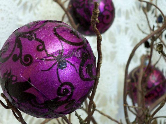 Purple Balls For Decoration Hand Decorated13 Purple Halloween Hanging Decor Ballsbright