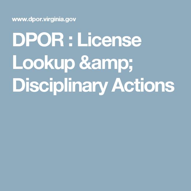 dpor license lookup