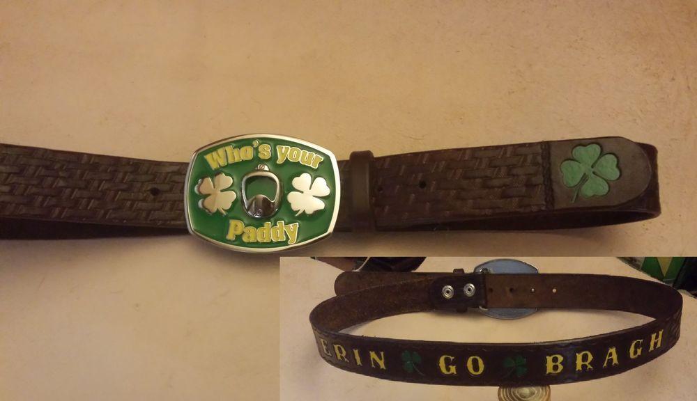 Custom Irish Shamrock ERIN GO BRAGH Clover Leather Belt + Bottle Opener Buckle #TSL
