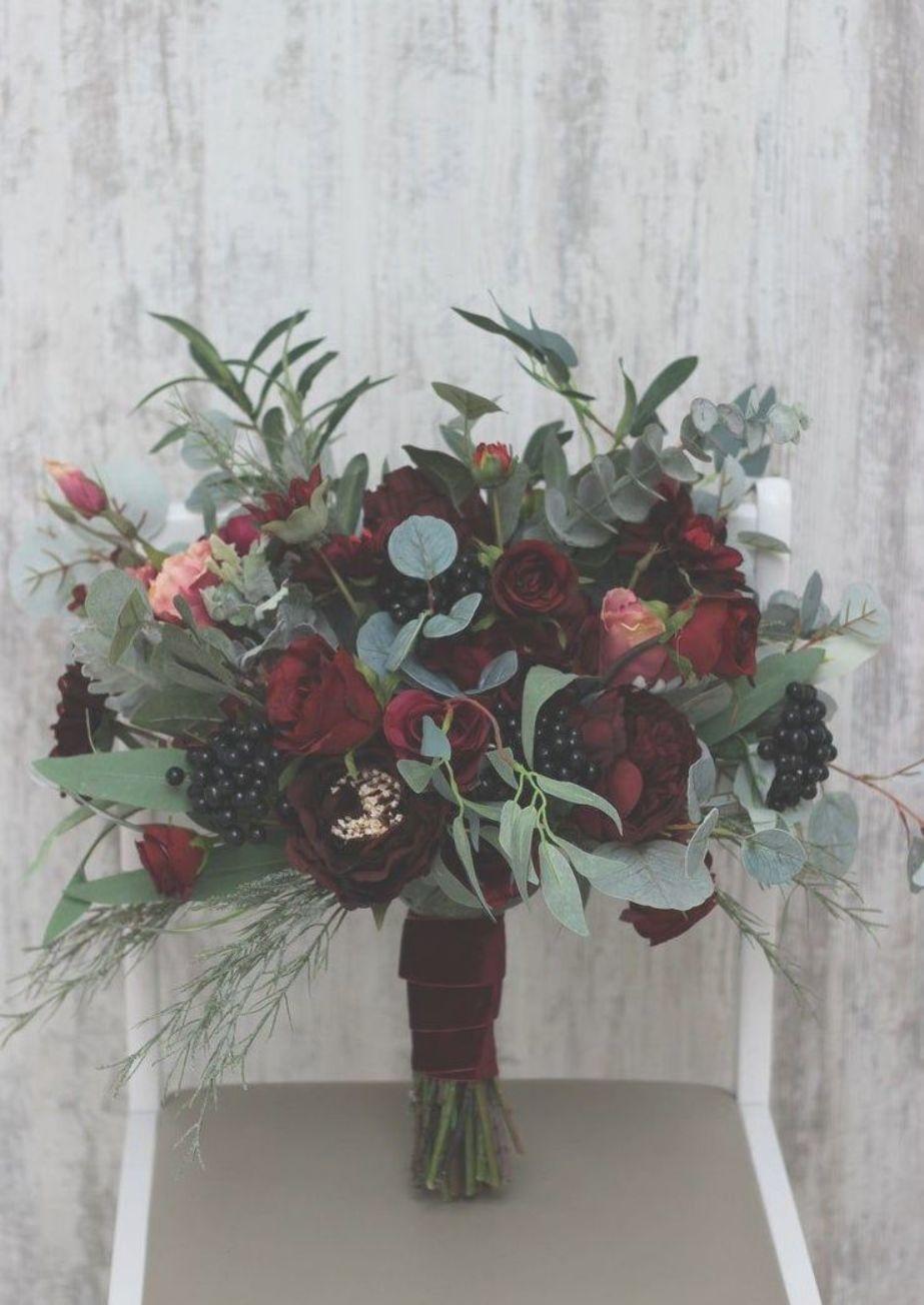 Burgundy flowers Bridal bouquet Faux bouquet Fall wedding | Etsy #fallbridalbouquets