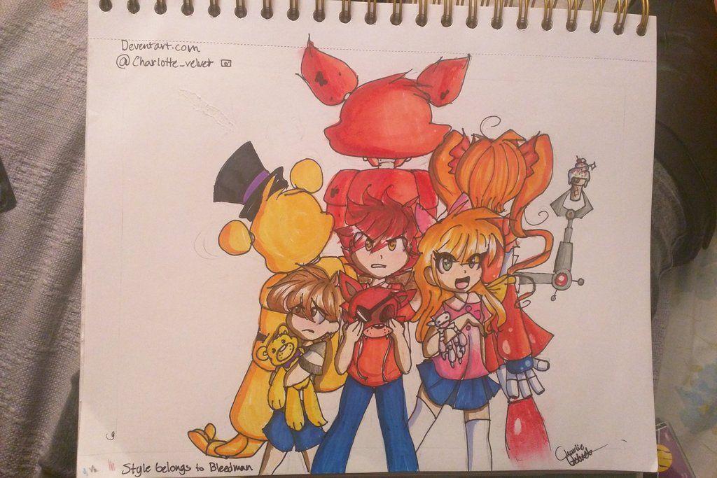 Mrs Afton S Kids Bleedman Style By Allyvelvet Fnaf Drawings Afton Family Sketch