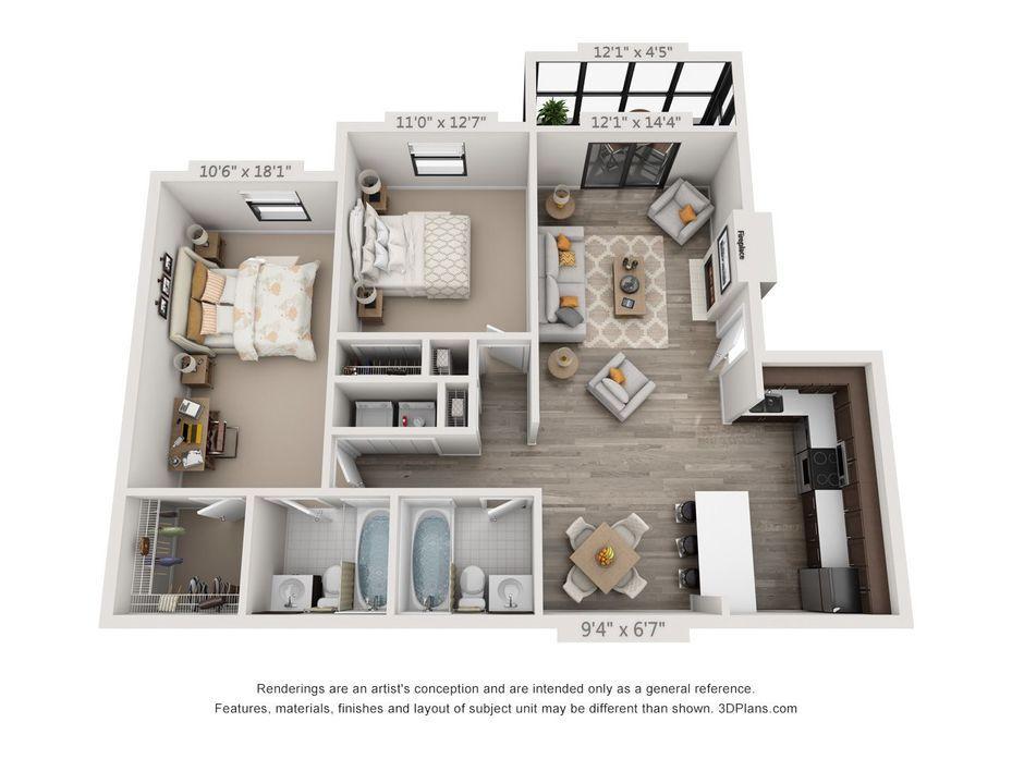 3d Furnished 3 Bedroom Home Floor Plans House Floor Plans Sims House Design