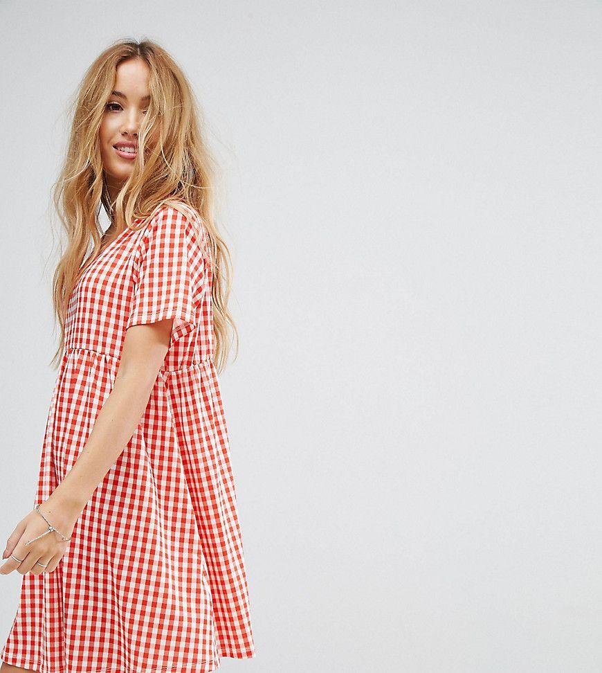 asos petite - ultimate - mini-hängerkleid mit ginghammuster