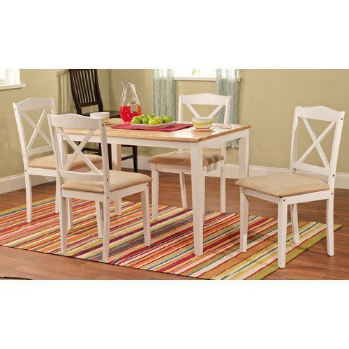 Dining Table Set For 4 With Chairs Kitchen Furniture Home Breakfast White Seat #DiningTableSet