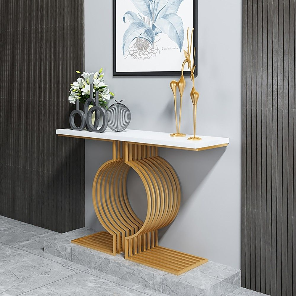 White Modern Narrow Console Table Rectangle Gold Finish Narrow Console Table White Console Table Contemporary Console Table