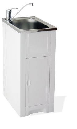Skinny Mini Cabinet With Stainless Steel Tub Laundry Tubs Small