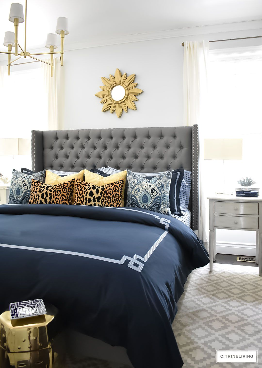Our Fall Bedroom Navy Blue Bedding With Greek Detail Layered With Luxe Pillows And Sheets Striped Grey And Gold Bedroom Blue And Gold Bedroom Gold Bedroom