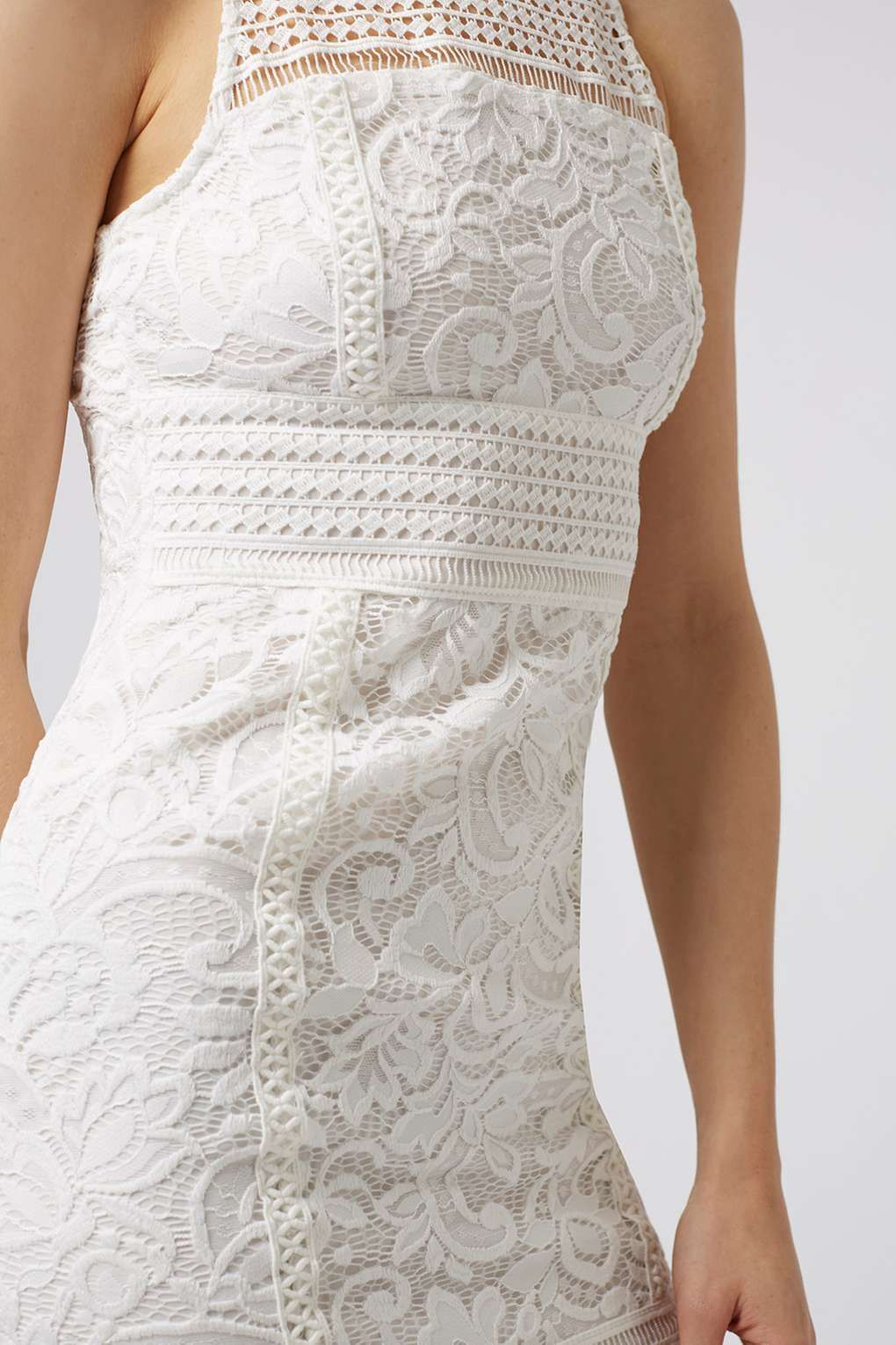 bodycon wedding dress Topshop Lace Trim Plunge Bodycon Midi Dress By Rare in Natural Lyst