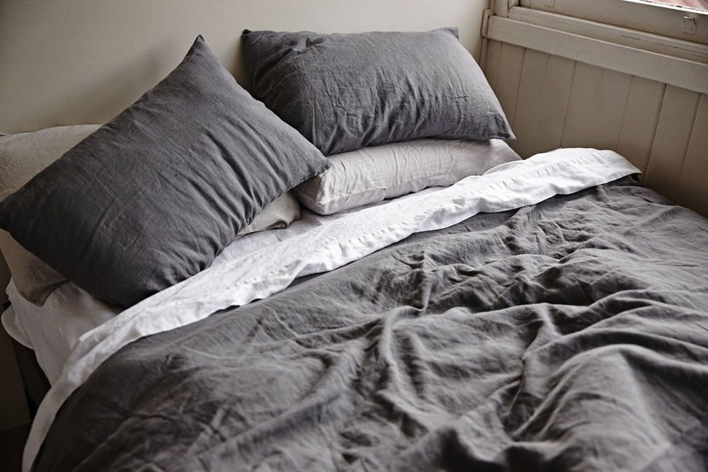Linen Duvet Cover Set Light Gray Home Decor