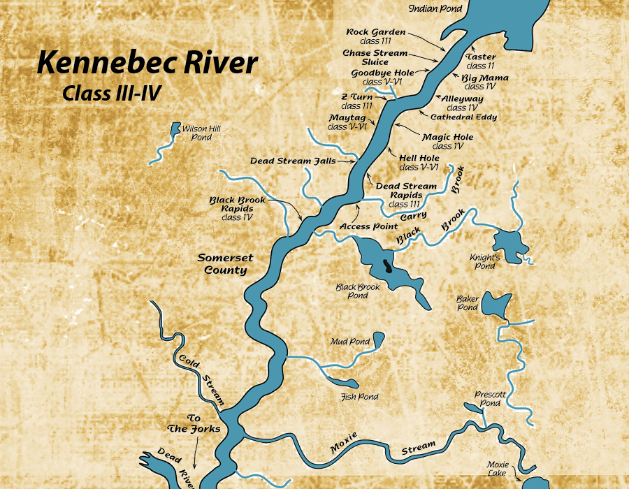 Kennebec River Map Whitewater Is King In The Kennebec Valley - Map of maine rivers