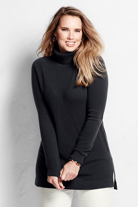 fabe97c61e3 Women s Year Round Cashmere Easy Turtleneck Tunic Sweater from Lands  End