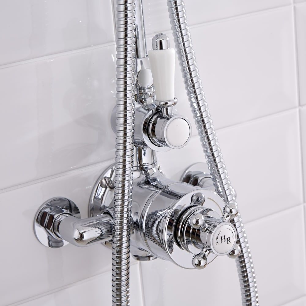 shower faucet kit with valve. Traditional Grand Rigid Riser Kit with Twin Thermostatic Shower Faucet Valve  2 Outlets