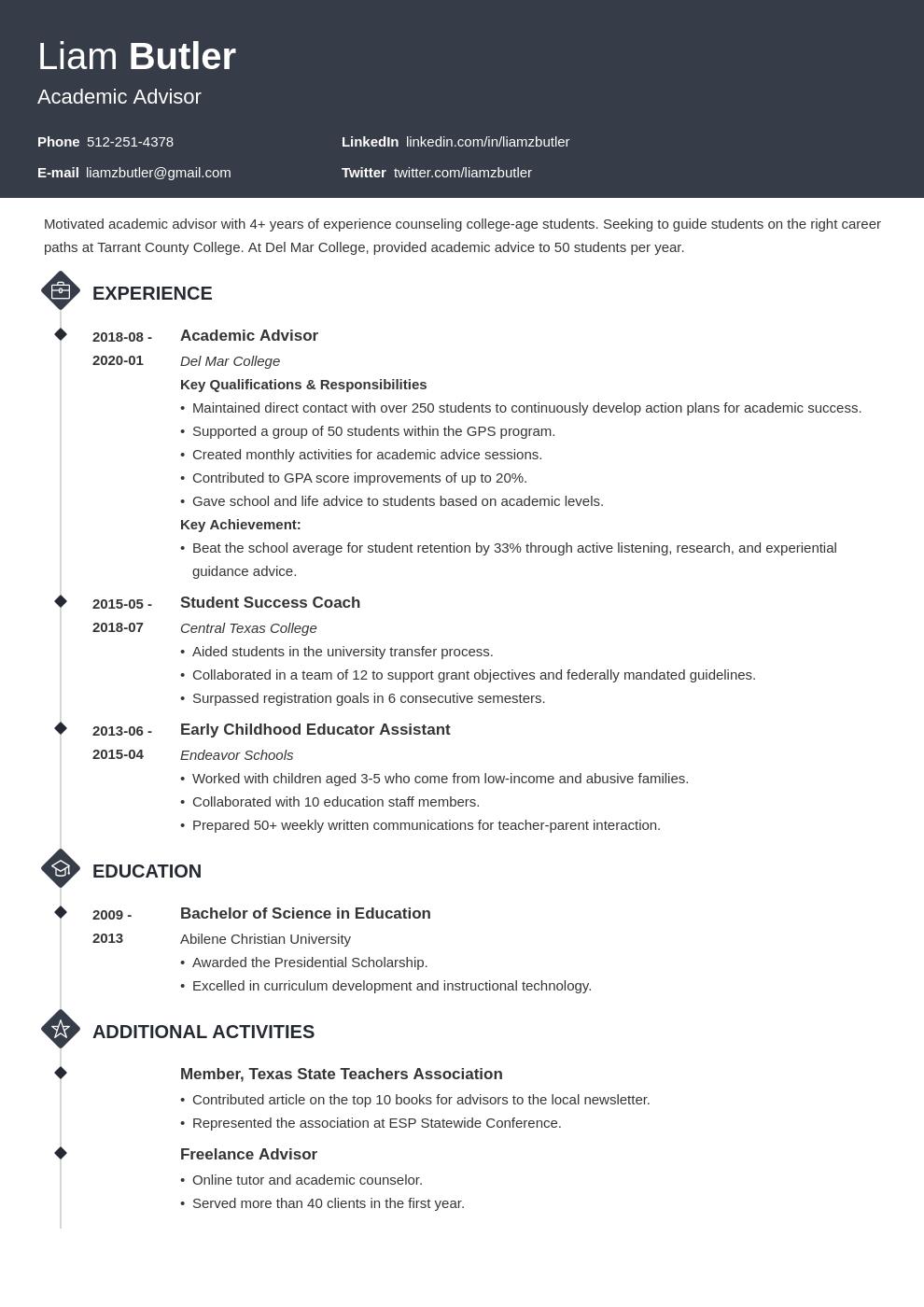Academic Advisor Resume Example Template Diamond Resume Examples Job Resume Examples Resume
