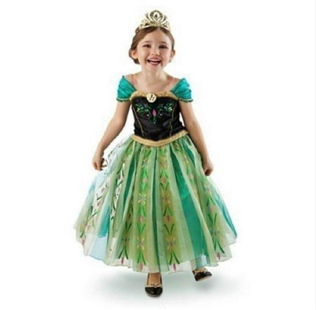 UK ANNA Elsa Girls Princess Dress Queen Cosplay Costume Grils Fancy Dress/&Crown