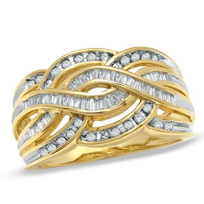3 8 Ct T W Baguette And Round Diamond Twist Band In 10k