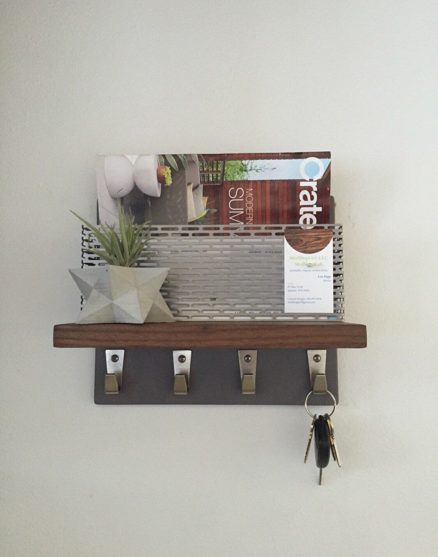 Mid century modern SLATE walnut perforated steel magazine rack, iPad mail  holder, wallet sunglasses