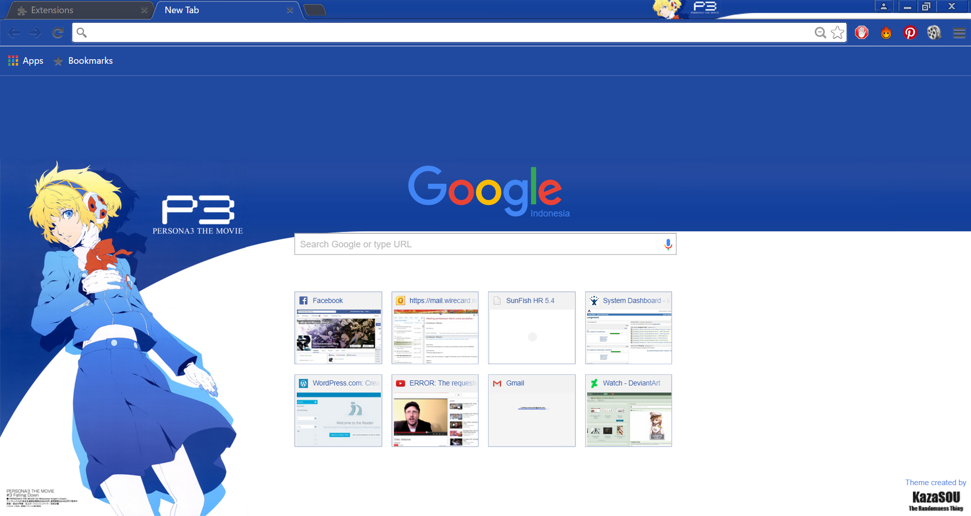 Here's a nice simple blue colored Google Chrome theme