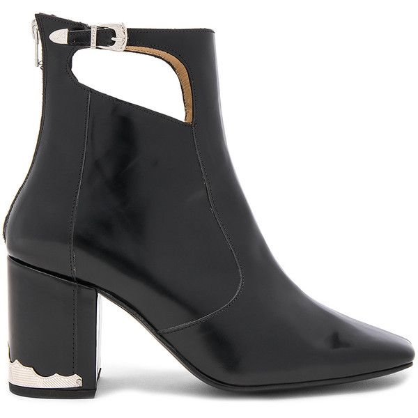 TOGA PULLA Cut Out Bootie ($520) ❤ liked on Polyvore featuring shoes, boots, ankle booties, booties, buckle ankle booties, buckle booties, high heel ankle booties, high heel bootie and buckle ankle boots