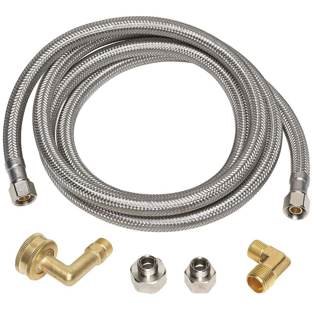 Everbilt 3 8 In X 3 8 In X 60 In Stainless Steel Universal Dishwasher Supply Line 7223 60 38 6e Eb The Home Depot Stainless Dishwasher Brass Compression Fittings Dishwasher Installation