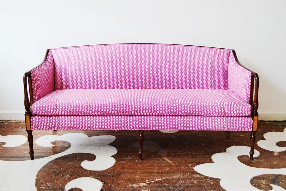 A Federal antique sofa reupholstered in Hable Construction\'s ...