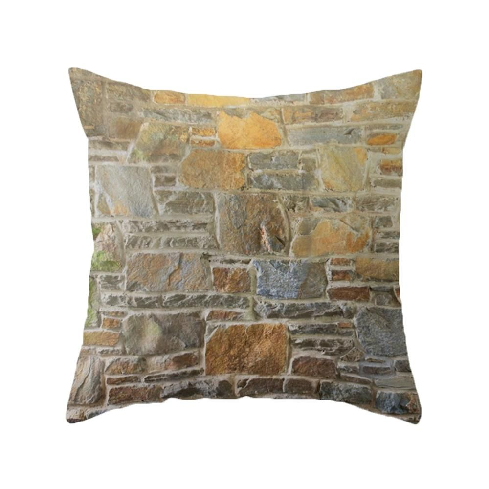Avondale Brown Stone Wall And Mortar Texture Indoor Throw
