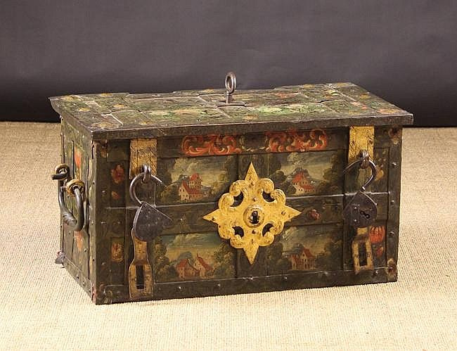 16th Cent Wrought Iron Armada Chest Bound In Studded Iron