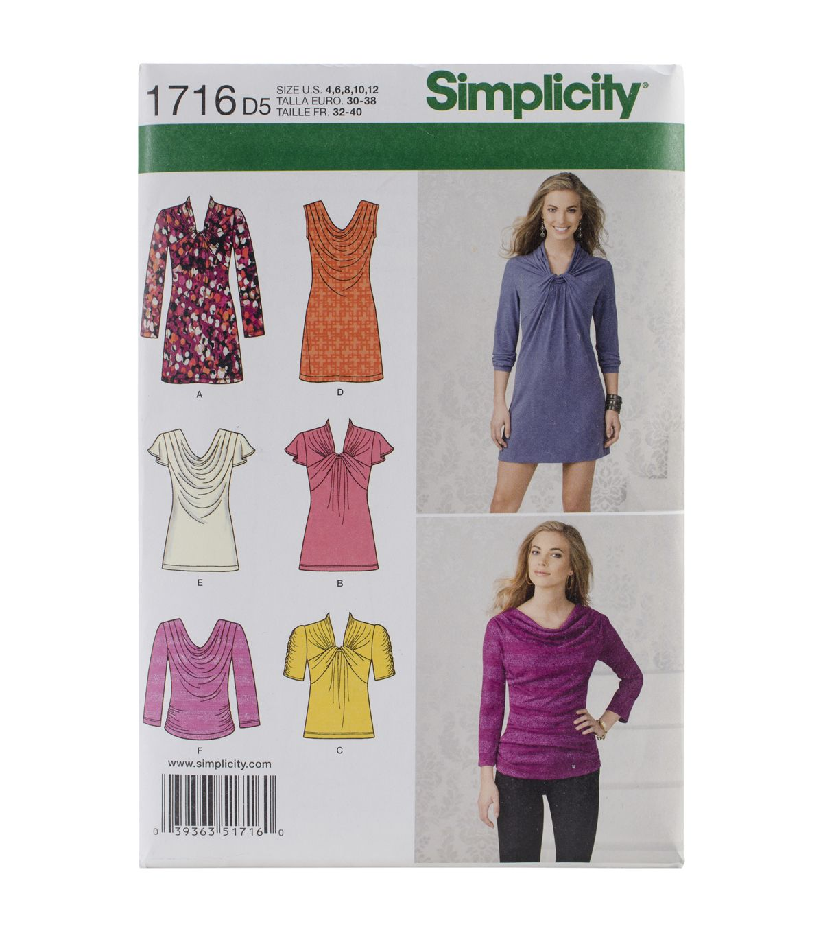 Simplicity Patterns Us1716D5 - Simplicity Misses\' Knit Top And Mini ...