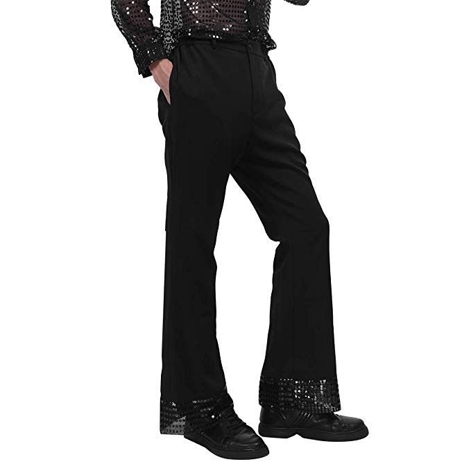 Adult Mens 1970s Style White or Black Disco Trousers with Sequins Fancy Dress
