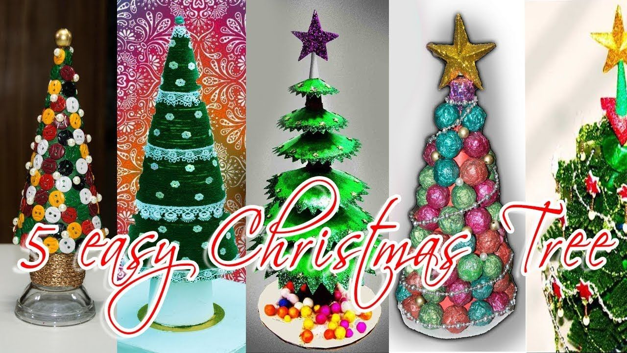 5 Easy Diy Christmas Tree Ideas Best Out Of Waste 5 Min Craft Art With Creativity Yo Easy Christmas Diy Diy Christmas Tree Ornaments Diy Christmas Wall