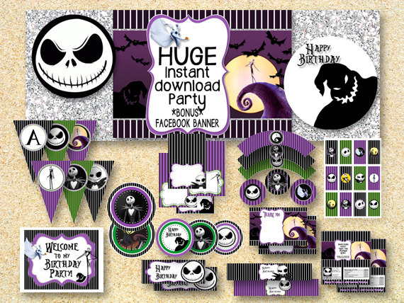 Birthday Nightmare Before Christmas Party Printable Party Pack Jack Skelington Instant Download Halloween Printable Fall Printable Nightmare Before Christmas Christmas Baby Shower Party Packs