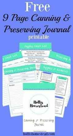 free 9 page canning and preserving journal printable  #lifehacks  #fitness