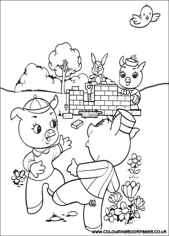 3 Little Pigs free colouring online