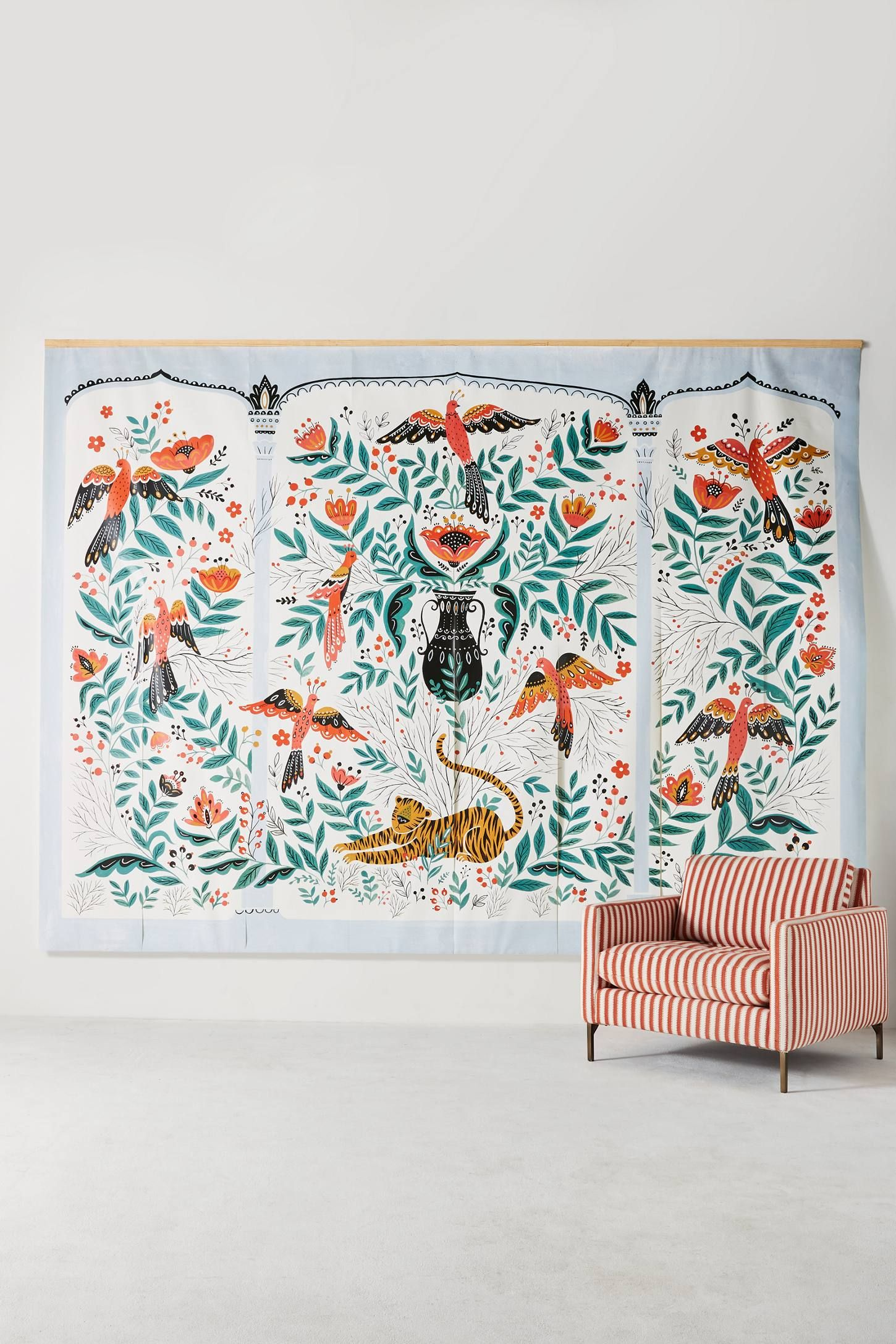 Tiger's Tale Mural Anthropologie wallpaper, Indian home