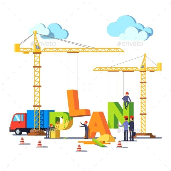 Business construction site with cranes building word PLAN
